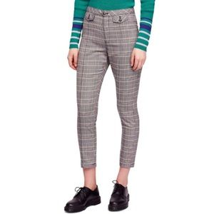 NWOT Free People high waisted crop plaid trousers